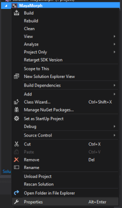 Opening Visual Studio Project Properties Example