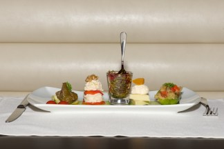 Place setting with plate of Turkish meze