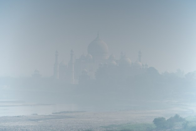 Taj Mahal from Agra Fort in blue haze