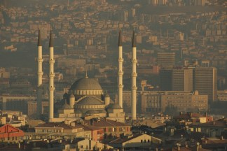 Kocatepe mosque with four minarets at dawn