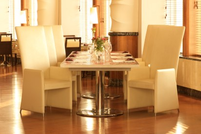 Tiled restaurant table and chairs for six