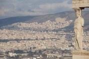 Hills of Athens seen behind Erechtheion caryatid