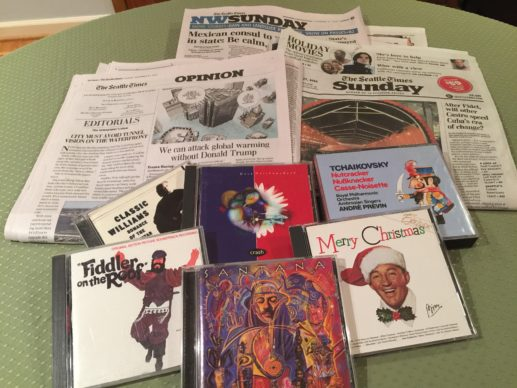 newspapers and music CDs