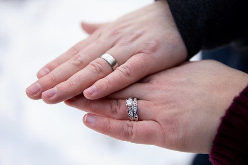 Newlyed wedding rings in family portrait session by MN Family Photographer Nicki Joachim Photography of Owatonna, Minnesota