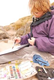 Working en plain air, Isle of Lewis, 2012.