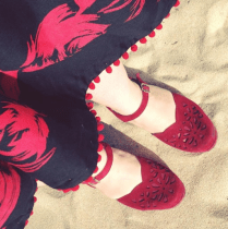 Nicki MacRae Art - My favourite 'Hattie' Rocket Originals red suede shoes
