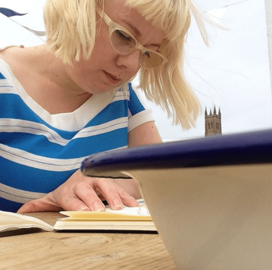 Nicki MacRae Art - Sketching in the Jubilee Pool Cafe, Penzance whilst on holiday
