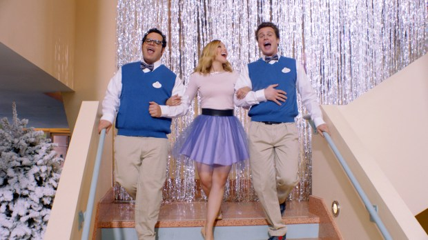 """FROZEN""  Kristen Bell, Josh Gad and Jonathan Groff sing about the ""Making of Frozen"". ©2014 Disney. All Rights Reserved."