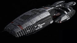 A Battlestar (the Battlestar Galactica) from t...