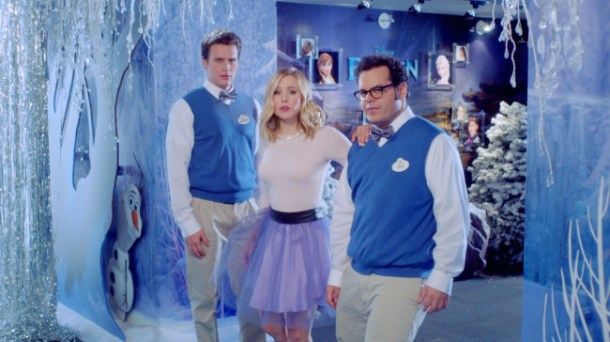 """""""FROZEN""""  Kristen Bell, Josh Gad and Jonathan Groff sing about the """"Making of Frozen"""". ©2014 Disney. All Rights Reserved."""