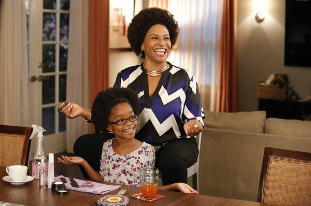 "BLACK-ISH - ""Oedipal Triangle""- Dre's mother, Ruby, comes for a visit, and she smothers her pork chops with gravy, Dre with love, and would like to flat out smother Bow, who feels the same way about her.   Dre tries to find a way to get the two most important women in his life to get along, on ""black-ish,"" WEDNESDAY, NOVEMBER 19 (9:31-10:00 p.m., ET) on the ABC Television Network. (ABC/Kelsey McNeal) MARSAI MARTIN, JENIFER LEWIS"