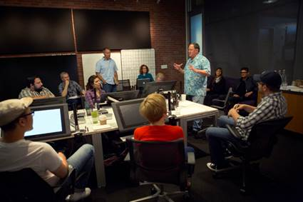 """Director John Lasseter works with members of his story team on Disney•Pixar's """"Toy Story 4,"""" a new chapter in the lives of Woody, Buzz Lightyear and the """"Toy Story"""" gang. The film is slated for release on June 16, 2017. (Photo by Deborah Coleman / Pixar)"""