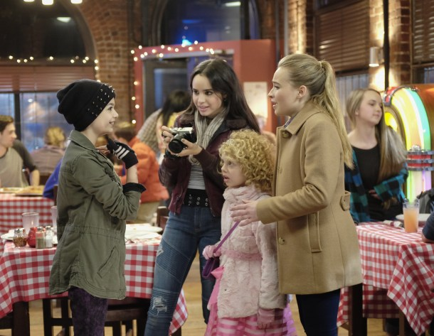 "ADVENTURES IN BABYSITTING - ""Adventures in Babysitting,"" inspired by the hugely popular 1980s film of the same name, is an upcoming Disney Channel Original Movie starring Sabrina Carpenter (of Disney Channel's hit comedy series ""Girl Meets World"") and Sofia Carson (of the hit Disney Channel Original Movie ""Descendants"").  In ""Adventures in Babysitting,"" a dull evening for two competing babysitters, Jenny (Sabrina Carpenter) and Lola (Sofia Carson), turns into an adventure in the big city as they hunt for one of the kids who somehow snuck away. The Disney Channel Original Movie will premiere summer 2016. (Disney Channel/Ed Araquel) NIKKI HAHN, SOFIA CARSON, MALLORY JAMES MAHONEY, SABRINA CARPENTER"