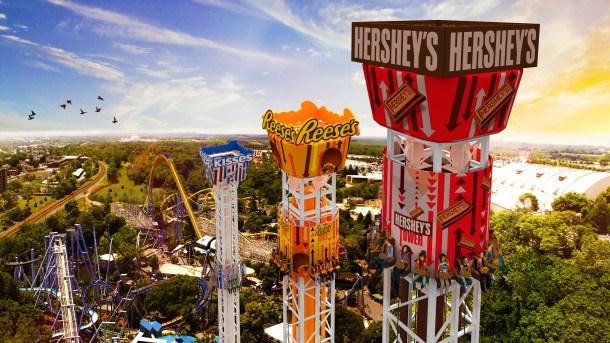 Hershey Triple Tower Aerial