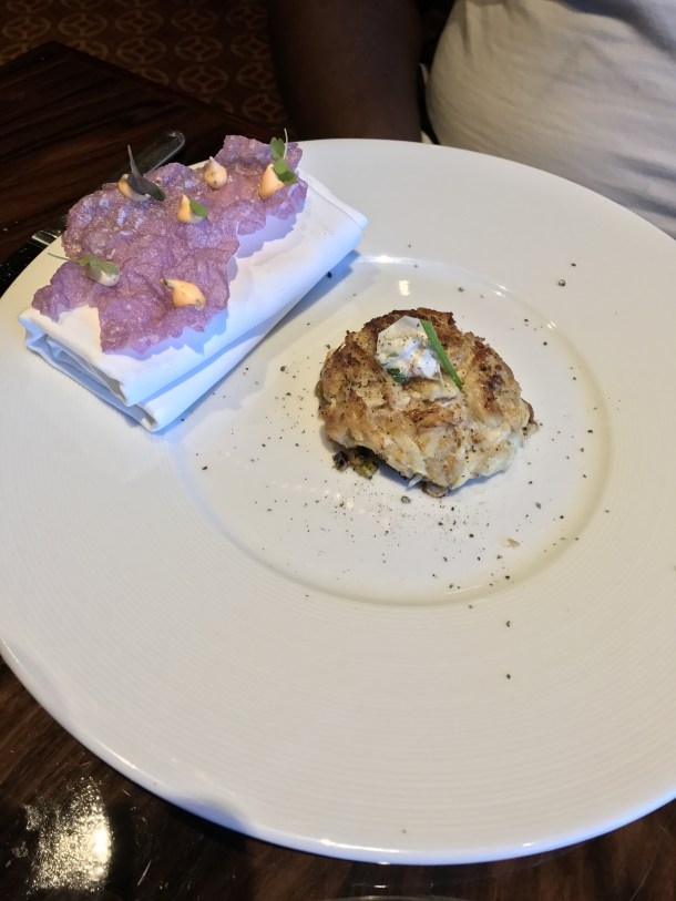 Broiled Crabcake with Tapioca Fried Crisp and Aioli