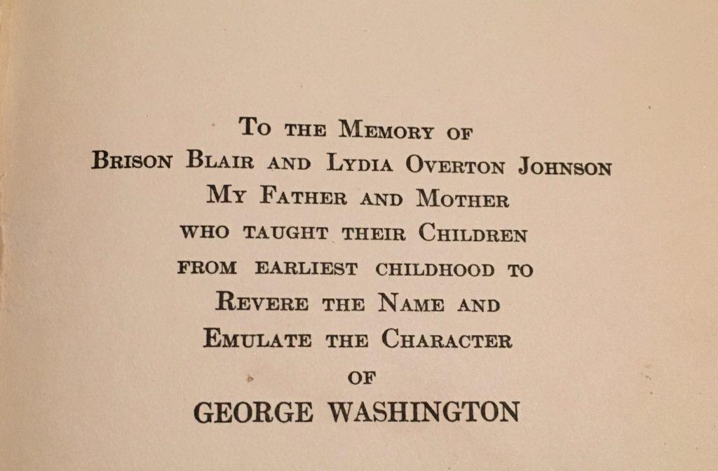 dedication page in George Washington the Christian