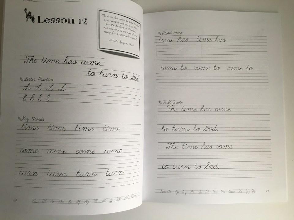 Patriotic Penmanship is our favorite curriculum to teach cursive writing