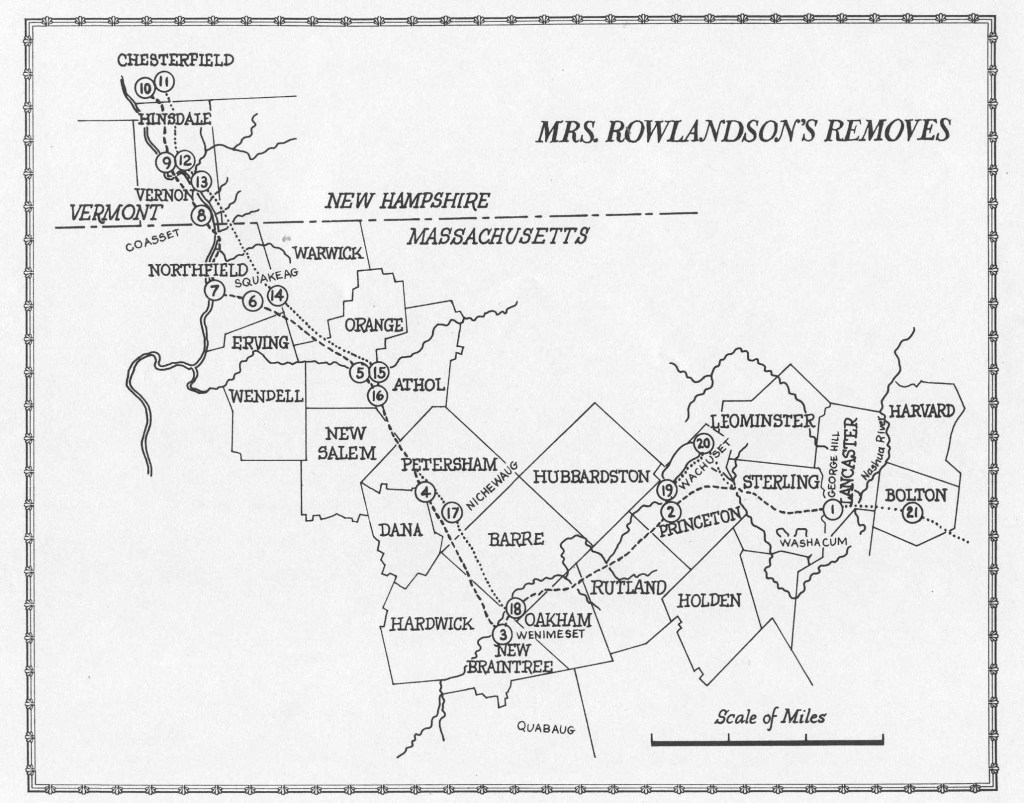 the map of Mary Rowlandson's journey in captivity