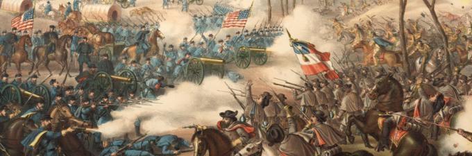 The Battle of Pea Ridge (American Civil War), Arkansas, published by Kurz and Allison, Chicago, IL, 1889. (Gilder Lehrman Collection)