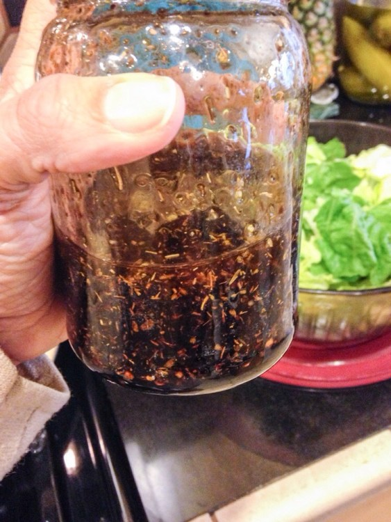 My very favorite Sweet Balsamic Salad Dressing (with herbs) since today, but today is a very good day.