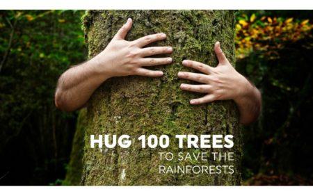 I'm hugging 100 trees for Rainforest Trust UK!