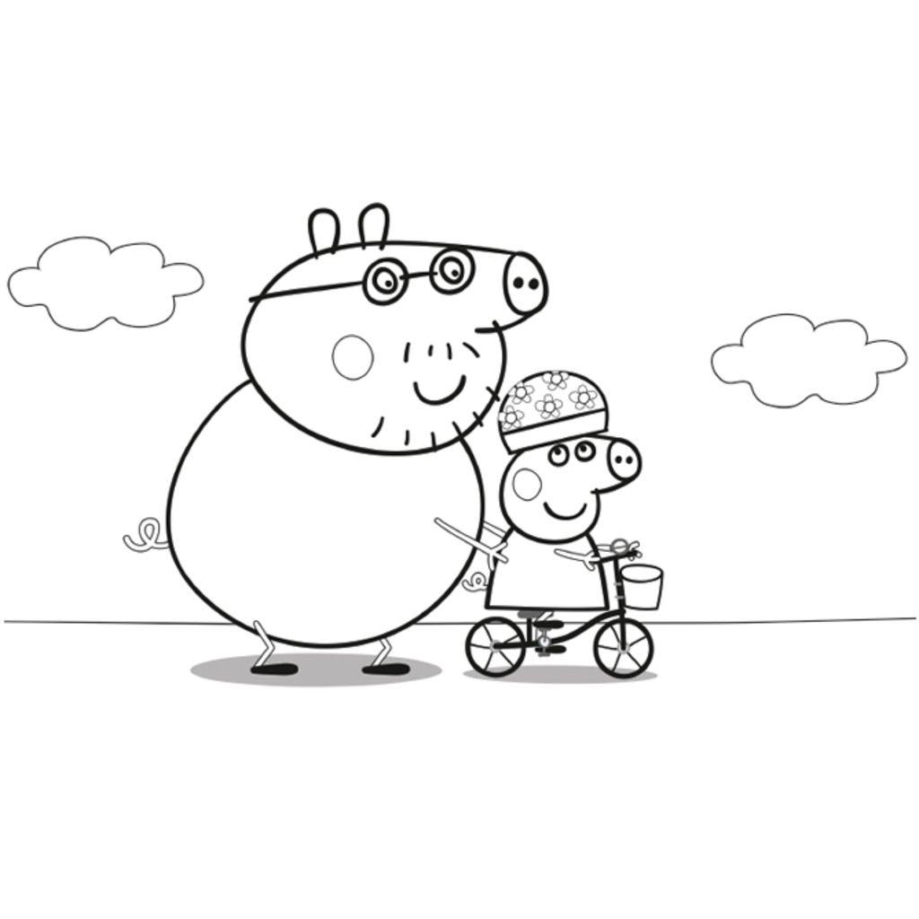 Peppa PigDaddy Pig Bike Riding With Peppa Colouring