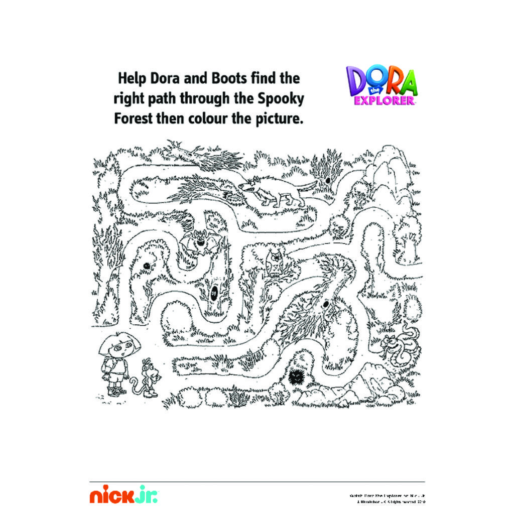 Dora The ExplorerDora Maze Colouring Pages For Preschoolers