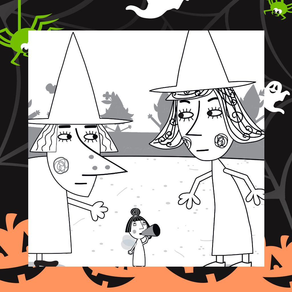 Little Kingdom Halloween Print And Colour Colouring Pages