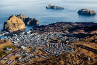 The town of Vestmannaeyjar on Heimaey, the largest of the Westman Islands