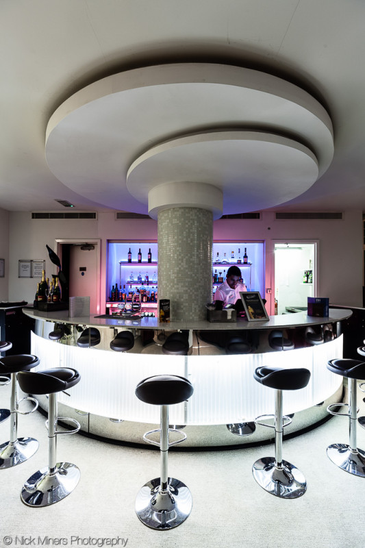 The rather snazzy bar at the NH Kensington hotel in London