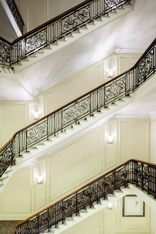 Impressive stairwell in the huge Landmark Hotel in Marylebone, London
