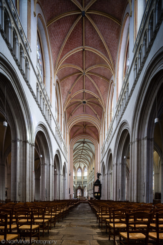 The slightly bent Quimper cathedral, Brittany, France