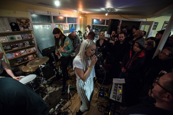 A packed 12 Tónar watches as the band play together for the first time in a year