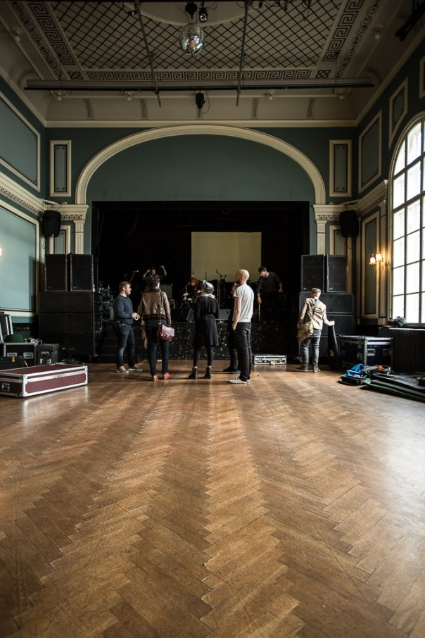 The band prepare for the soundcheck in Íðnó's beautiful performance hall