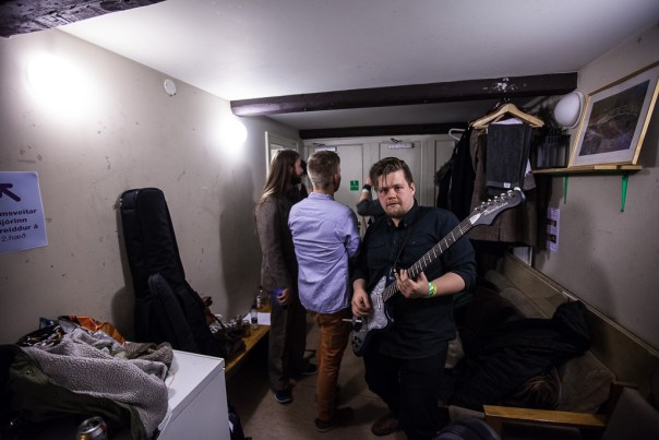 In the evening, the band wear their smarter outfits backstage