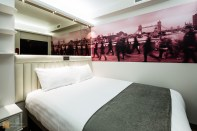 Double room with local detail, Tune Hotel Canary Wharf