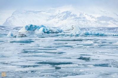 Jökulsárlón with full complement of icebergs