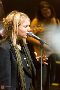Katrína Mogensen, singer, tests the microphone and her vocal cords