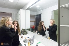 Backstage before the evening's performance, Alexandra and Kata prepare their make up