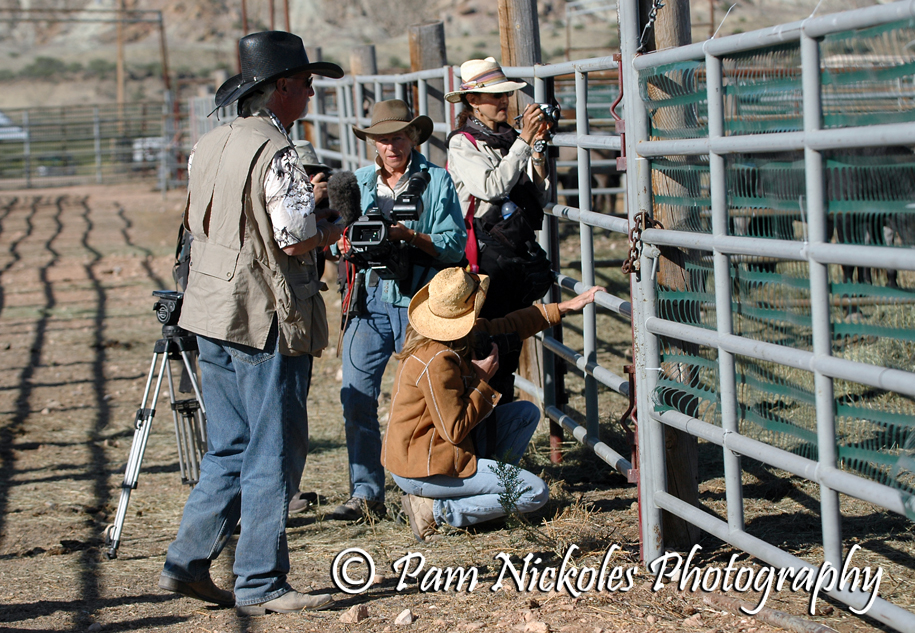 R.T. Fitch, Ginger Kathrens, Elyse Gardner and Terry Fitch at the corrals