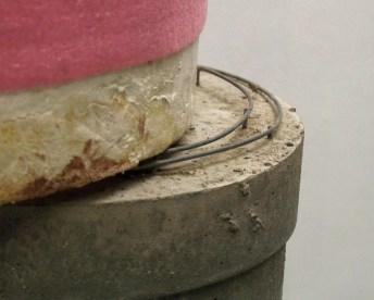 """Inside Out"" (Detail), 2014, concrete, styrofoam, foam sill gasket, Sonotube and steel, 90 x 72 x 195 cm."