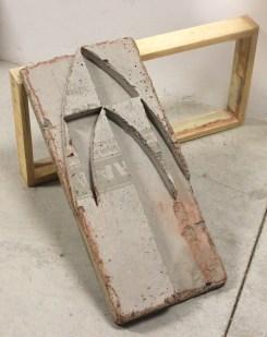 """""""Positive #3,"""" 2015, concrete and wood, 60 x 60 x 30 cm."""