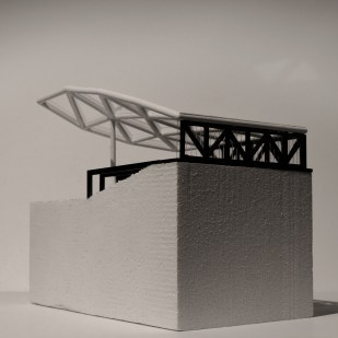 """Building from Insect Script,"" 2016, 3D Print, Laser Cut Wood and Plexi, CNC carved foam, 25cm x 15cm x 25cm."
