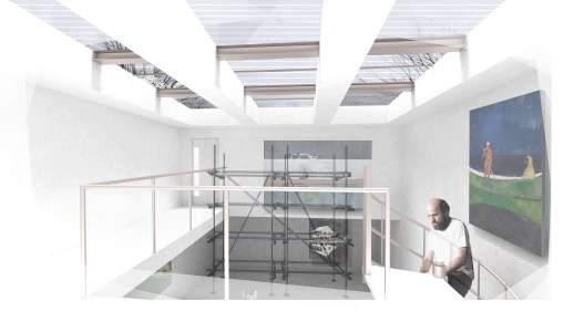 Lost Villages Museum Proposal, Collage-Render View of Studio Interior at Artist Residency