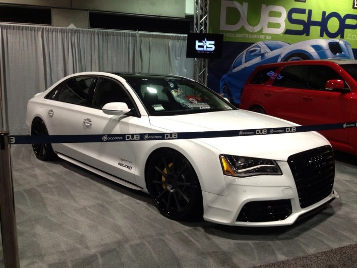 Audi A8 lowered on big wheels