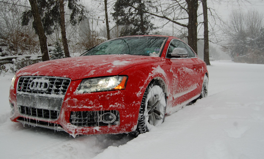 Red Audi S5 in the Snow