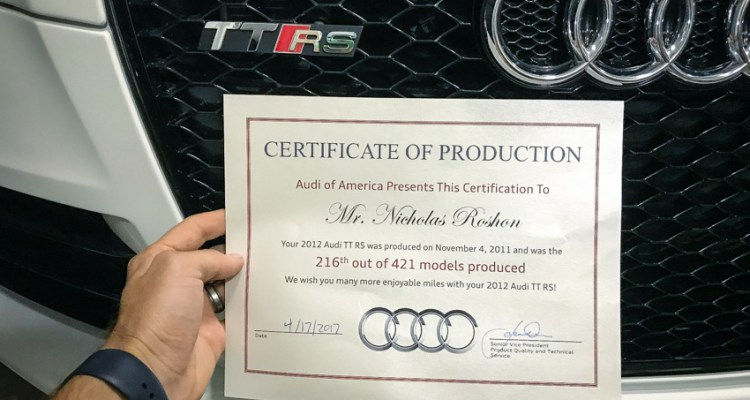 Audi Certificate of Production for my TTRS