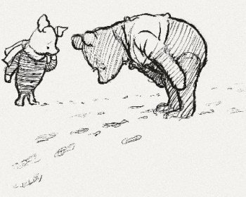 Original Winnie The Pooh and Piglet Drawing Look At Footprints During Brexit Meme EU Referendum