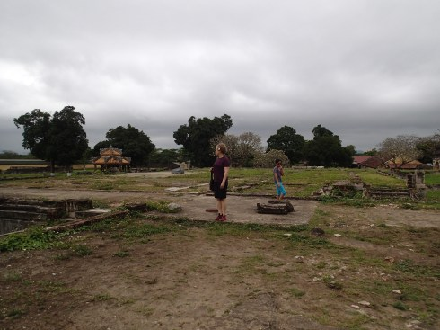 Pam and Rae standing in what used to be a building in the Imperial City.