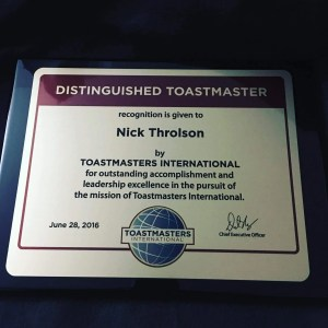 Nick Throlson DTM Distinguished Toastmaster